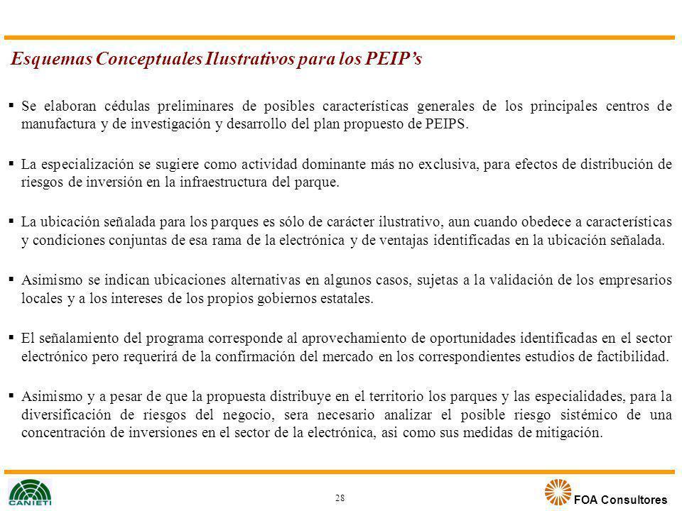 FOA Consultores Esquemas Conceptuales Ilustrativos para los PEIPs Se elaboran cédulas preliminares de posibles características generales de los princi