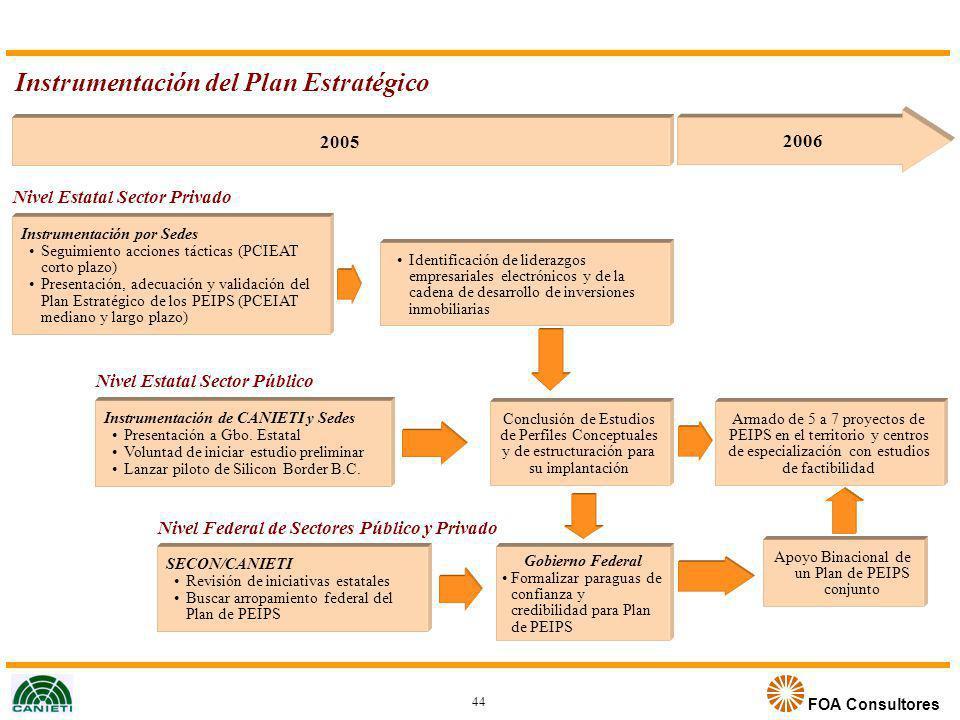 FOA Consultores Instrumentación del Plan Estratégico Nivel Estatal Sector Privado 2005 2006 Instrumentación por Sedes Seguimiento acciones tácticas (P