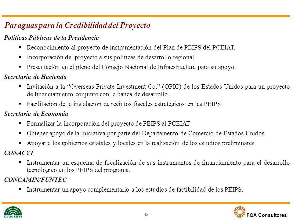 FOA Consultores Políticas Públicas de la Presidencia Reconocimiento al proyecto de instrumentación del Plan de PEIPS del PCEIAT. Incorporación del pro