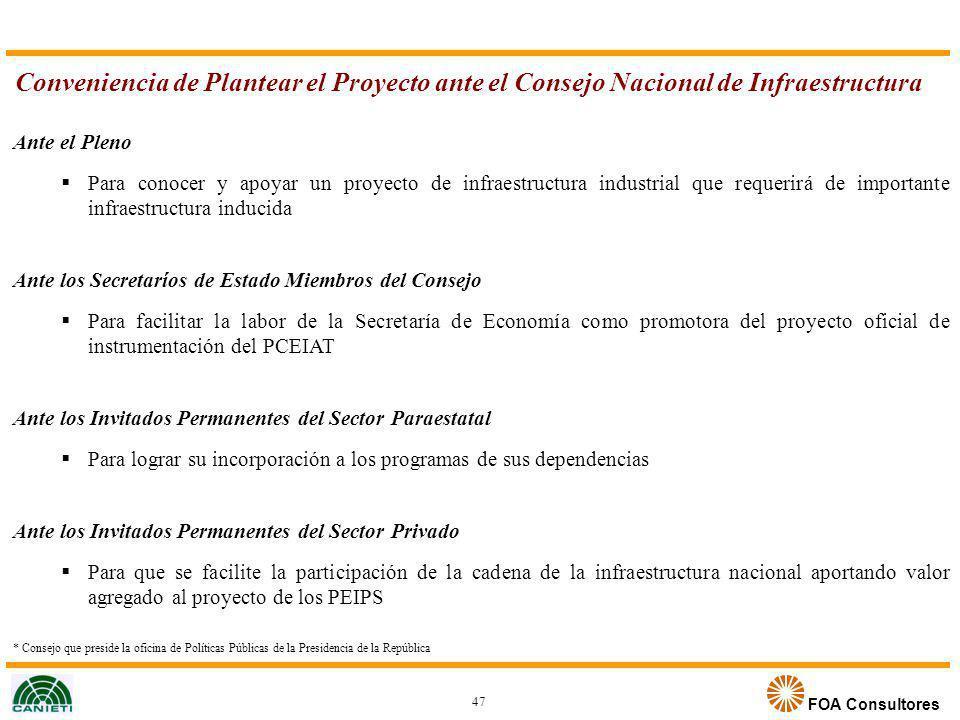 FOA Consultores Ante el Pleno Para conocer y apoyar un proyecto de infraestructura industrial que requerirá de importante infraestructura inducida Ant