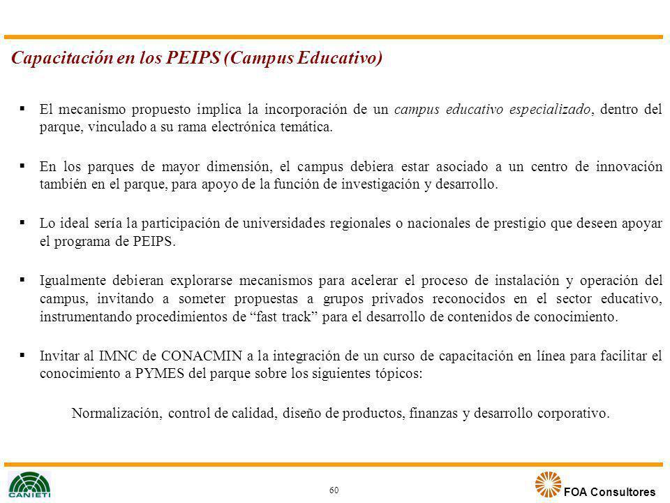 FOA Consultores Capacitación en los PEIPS (Campus Educativo) El mecanismo propuesto implica la incorporación de un campus educativo especializado, den