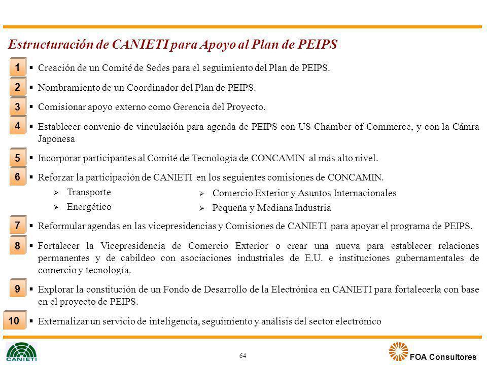 FOA Consultores 10 2 3 4 5 1 6 7 8 9 Estructuración de CANIETI para Apoyo al Plan de PEIPS Creación de un Comité de Sedes para el seguimiento del Plan