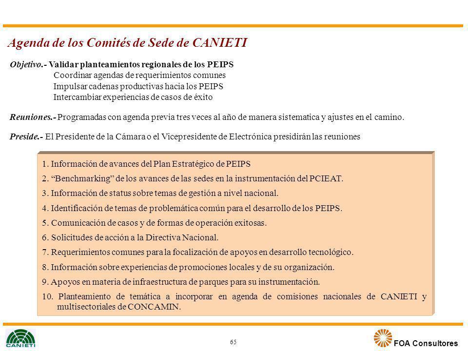 FOA Consultores Agenda de los Comités de Sede de CANIETI 65 Objetivo.- Validar planteamientos regionales de los PEIPS Coordinar agendas de requerimien