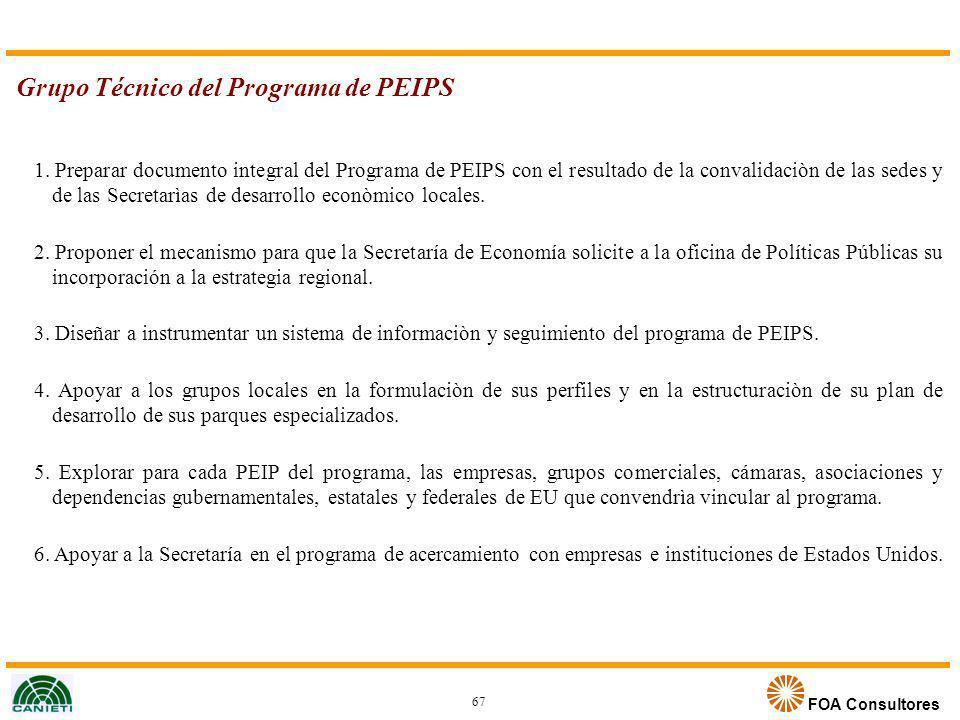FOA Consultores Grupo Técnico del Programa de PEIPS 1. Preparar documento integral del Programa de PEIPS con el resultado de la convalidaciòn de las s