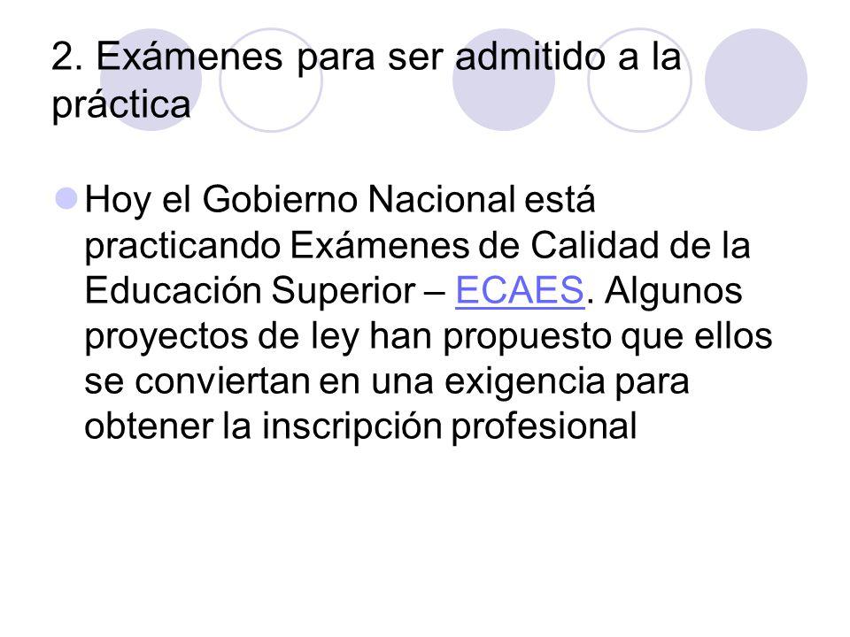 2. Exámenes para ser admitido a la práctica Hoy el Gobierno Nacional está practicando Exámenes de Calidad de la Educación Superior – ECAES. Algunos pr