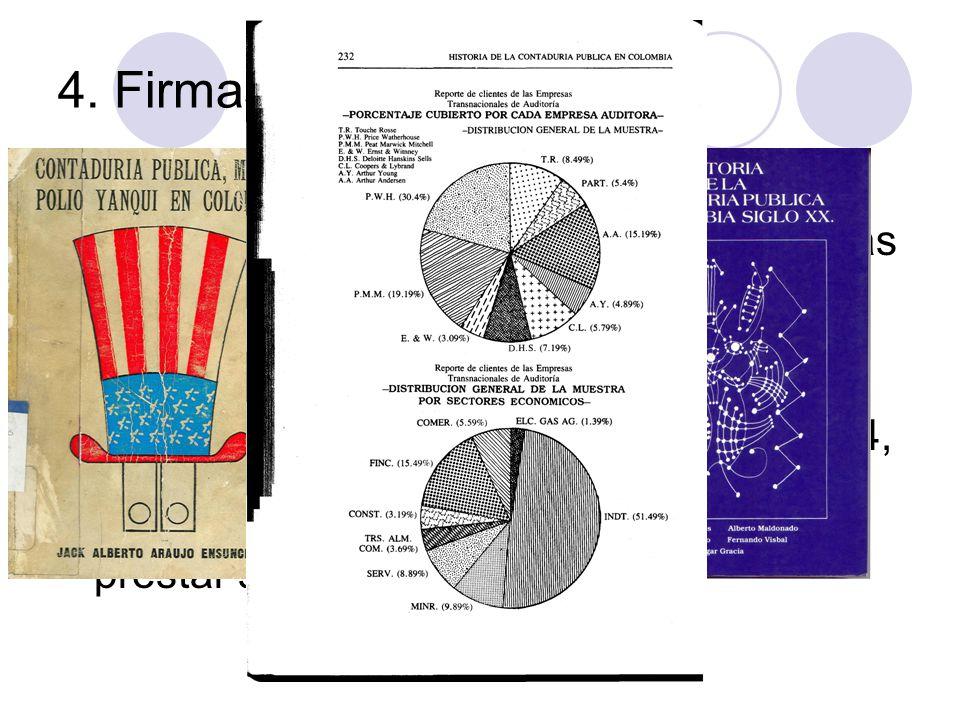 4. Firmas de Contadores Durante 50 años las Firmas de Contadores han estado en el centro de las discusiones de la profesión. Esta larga y fuerte contr