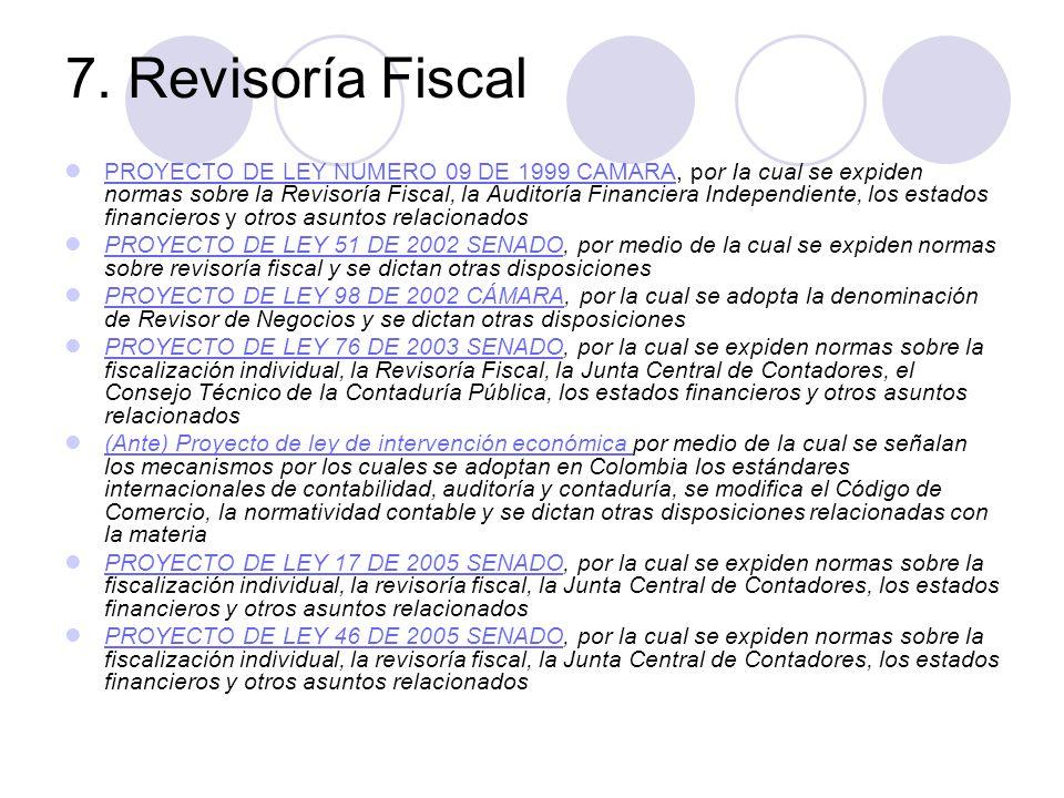 7. Revisoría Fiscal PROYECTO DE LEY NUMERO 09 DE 1999 CAMARA, por Ia cual se expiden normas sobre la Revisoría Fiscal, la Auditoría Financiera Indepen