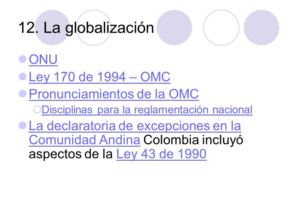 12. La globalización ONU Ley 170 de 1994 – OMC Pronunciamientos de la OMC Disciplinas para la reglamentación nacional La declaratoria de excepciones e