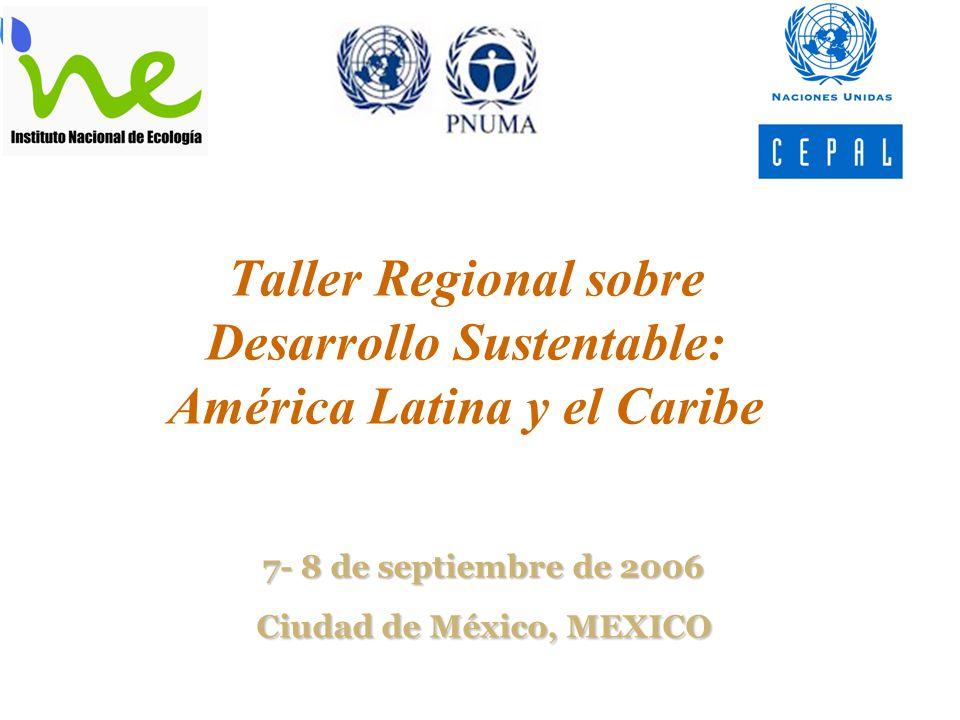Taller Regional sobre Desarrollo Sustentable: América Latina y el Caribe 7- 8 de septiembre de 2006 Ciudad de México, MEXICO