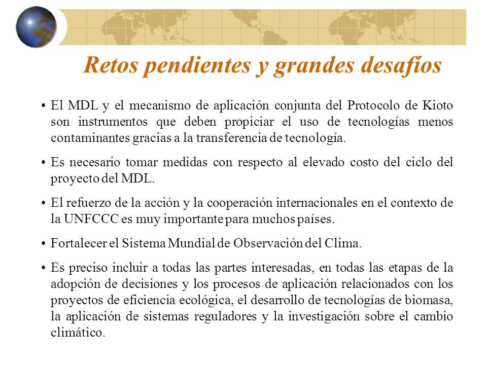 Retos pendientes y grandes desafíos El MDL y el mecanismo de aplicación conjunta del Protocolo de Kioto son instrumentos que deben propiciar el uso de tecnologías menos contaminantes gracias a la transferencia de tecnología.