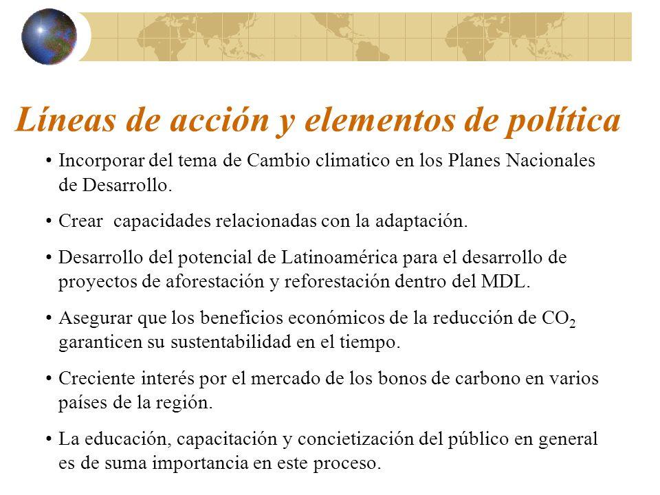 Líneas de acción y elementos de política Incorporar del tema de Cambio climatico en los Planes Nacionales de Desarrollo.