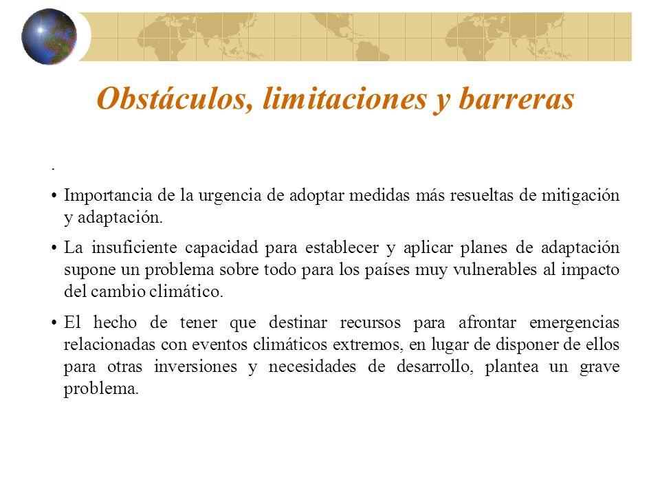 Obstáculos, limitaciones y barreras.