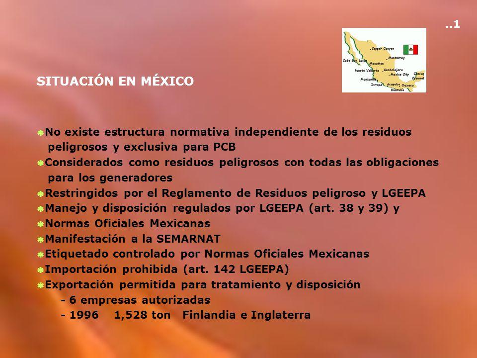 SITUACIÓN EN MÉXICO No existe estructura normativa independiente de los residuos peligrosos y exclusiva para PCB Considerados como residuos peligrosos