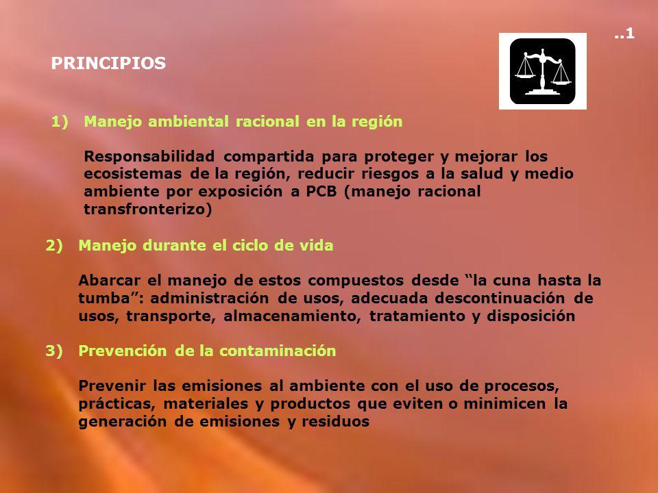 PRINCIPIOS 1)Manejo ambiental racional en la región Responsabilidad compartida para proteger y mejorar los ecosistemas de la región, reducir riesgos a