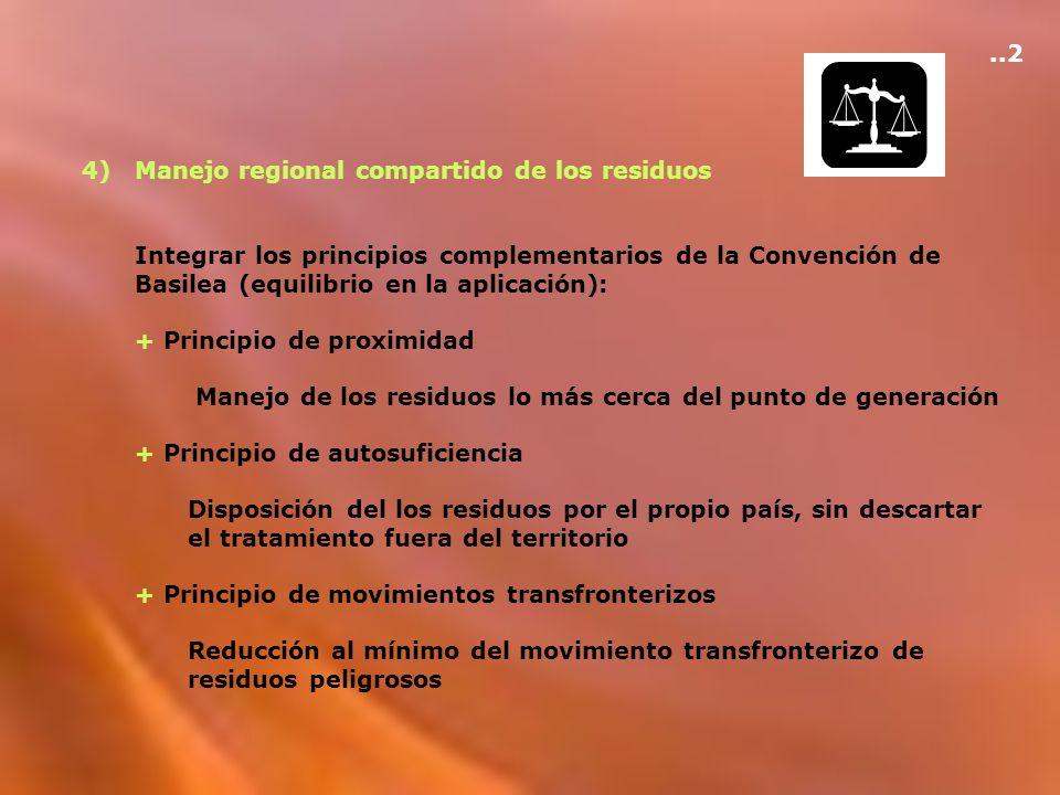 4)Manejo regional compartido de los residuos Integrar los principios complementarios de la Convención de Basilea (equilibrio en la aplicación): + Prin