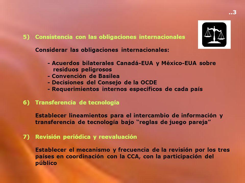 5)Consistencia con las obligaciones internacionales Considerar las obligaciones internacionales: - Acuerdos bilaterales Canadá-EUA y México-EUA sobre