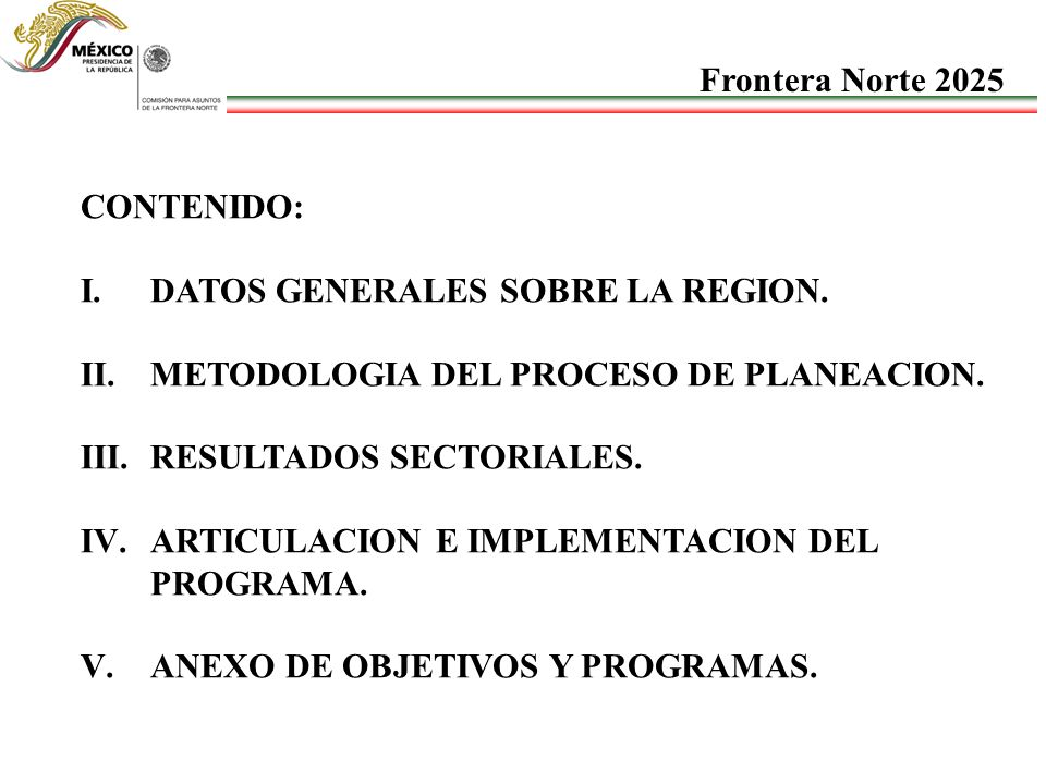 CONTENIDO: I.DATOS GENERALES SOBRE LA REGION. II.METODOLOGIA DEL PROCESO DE PLANEACION. III.RESULTADOS SECTORIALES. IV.ARTICULACION E IMPLEMENTACION D