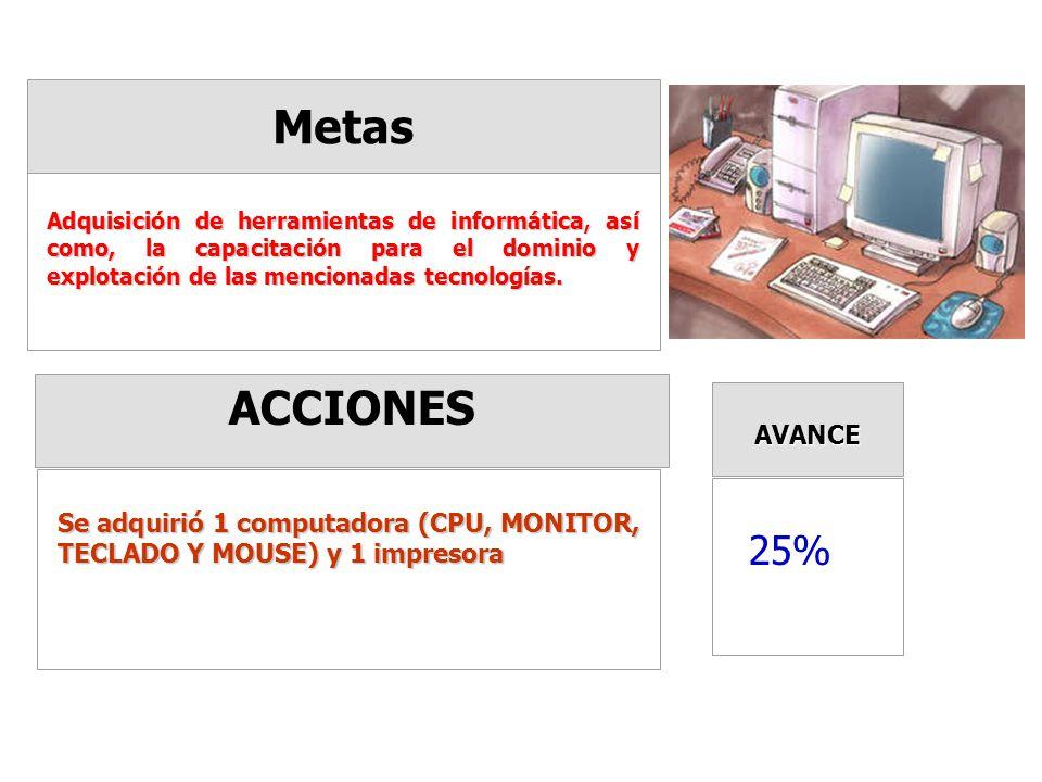 Metas ACCIONES AVANCE Adquisición de herramientas de informática, así como, la capacitación para el dominio y explotación de las mencionadas tecnologías.