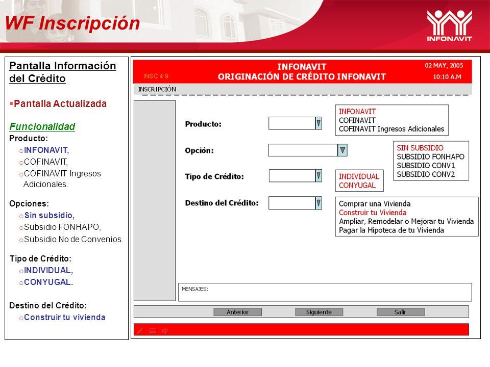Pantalla Información del Crédito Pantalla Actualizada Funcionalidad Producto: o INFONAVIT, o COFINAVIT, o COFINAVIT Ingresos Adicionales. Opciones: o