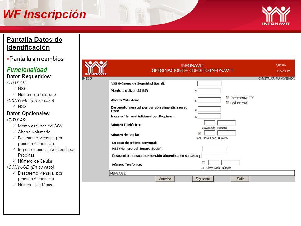 Pantalla Datos de Identificación Pantalla sin cambios Funcionalidad Datos Requeridos: TITULAR NSS Número de Teléfono CÓNYUGE (En su caso) NSS Datos Op