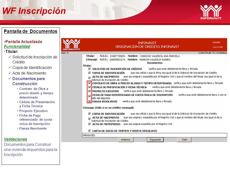 Pantalla de Documentos Pantalla Actualizada Funcionalidad Titular: Solicitud de Inscripción de Crédito Copia de Identificación Acta de Nacimiento Docu