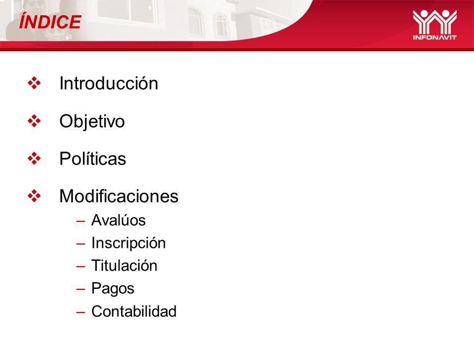 ÍNDICE Introducción Objetivo Políticas Modificaciones –Avalúos –Inscripción –Titulación –Pagos –Contabilidad