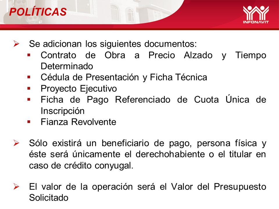 Se adicionan los siguientes documentos: Contrato de Obra a Precio Alzado y Tiempo Determinado Cédula de Presentación y Ficha Técnica Proyecto Ejecutiv