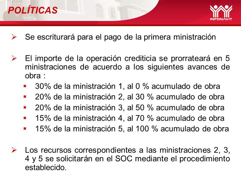 Se escriturará para el pago de la primera ministración El importe de la operación crediticia se prorrateará en 5 ministraciones de acuerdo a los sigui