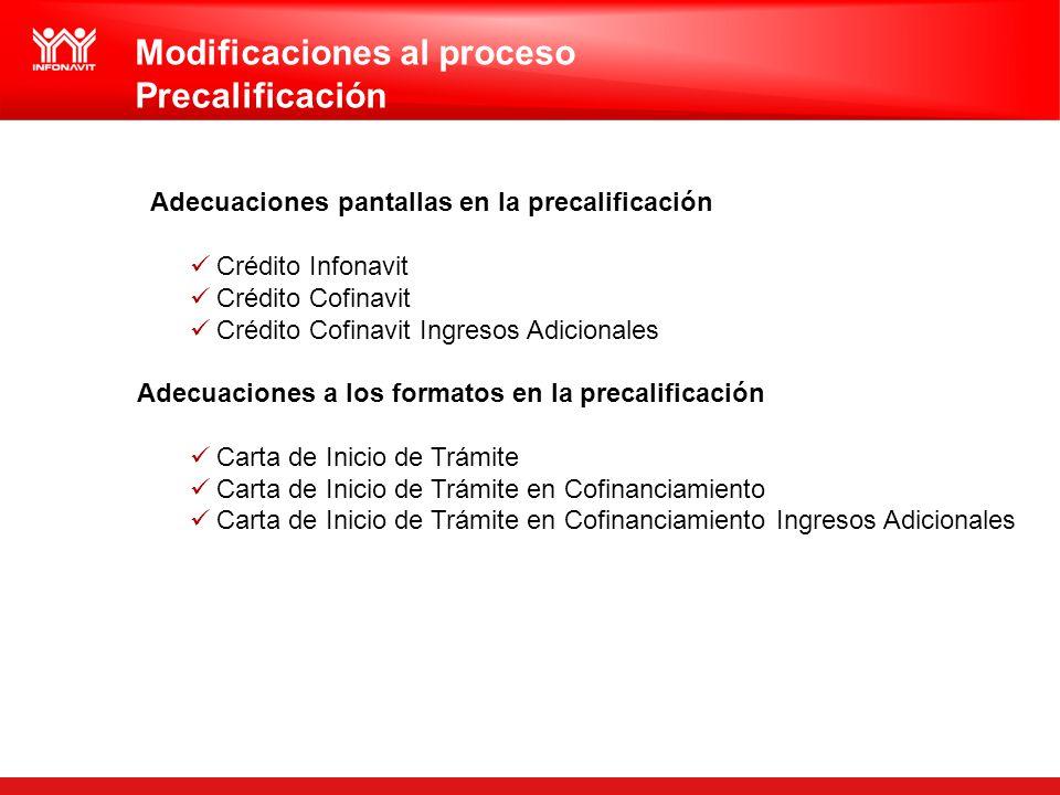 Modificaciones al proceso Precalificación Adecuaciones pantallas en la precalificación Crédito Infonavit Crédito Cofinavit Crédito Cofinavit Ingresos