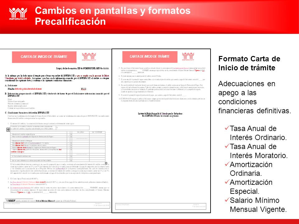 Formato Carta de Inicio de trámite Adecuaciones en apego a las condiciones financieras definitivas. Tasa Anual de Interés Ordinario. Tasa Anual de Int
