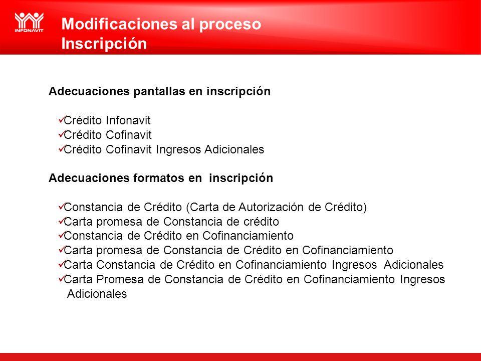 Modificaciones al proceso Inscripción Adecuaciones pantallas en inscripción Crédito Infonavit Crédito Cofinavit Crédito Cofinavit Ingresos Adicionales