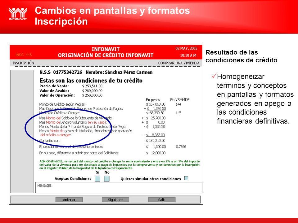 Cambios en pantallas y formatos Inscripción Resultado de las condiciones de crédito Homogeneizar términos y conceptos en pantallas y formatos generado
