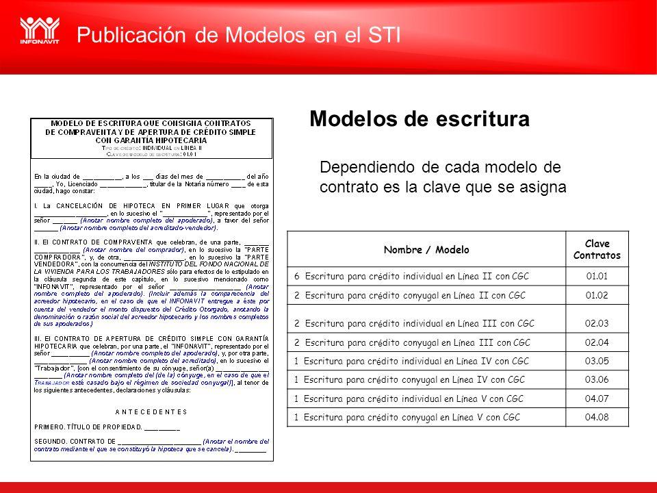 Publicación de Modelos en el STI Nombre / Modelo Clave Contratos 6 Escritura para cr é dito individual en L í nea II con CGC01.01 2 Escritura para cr