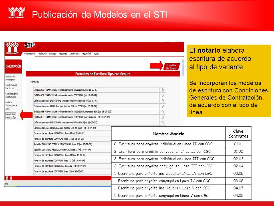 Publicación de Modelos en el STI Nombre Modelo Clave Contratos 6 Escritura para cr é dito individual en L í nea II con CGC01.01 2 Escritura para cr é