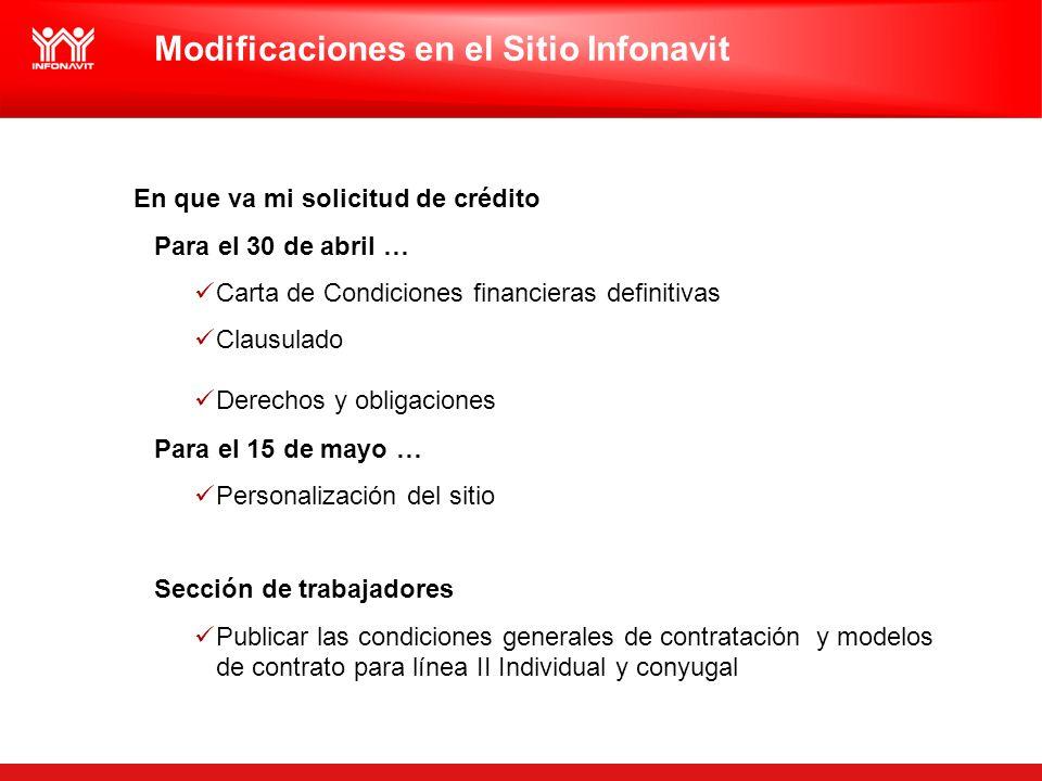 Modificaciones en el Sitio Infonavit En que va mi solicitud de crédito Para el 30 de abril … Carta de Condiciones financieras definitivas Clausulado D