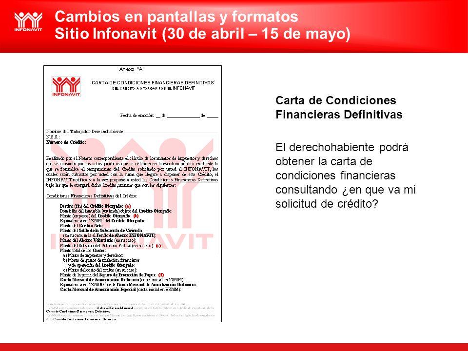 Carta de Condiciones Financieras Definitivas El derechohabiente podrá obtener la carta de condiciones financieras consultando ¿en que va mi solicitud