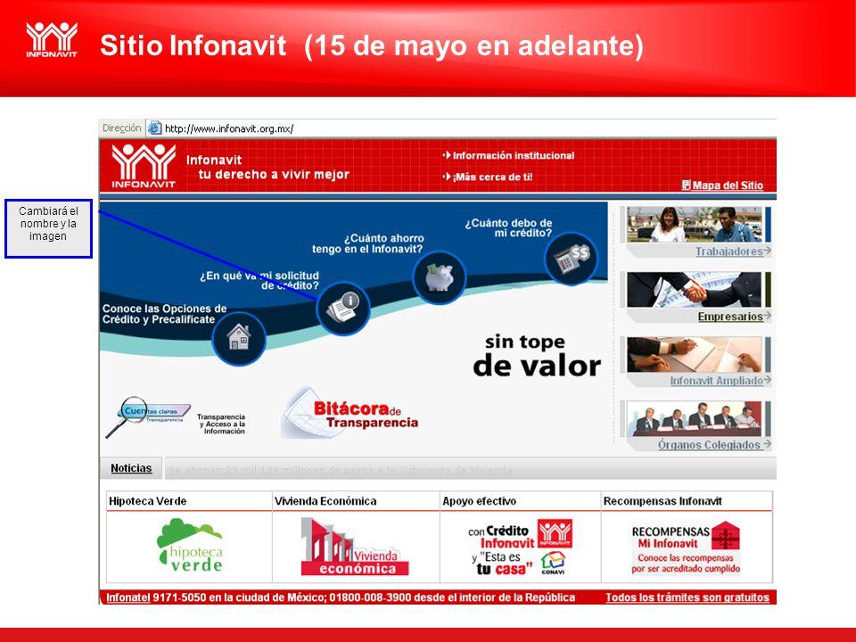 Cambiará el nombre y la imagen Sitio Infonavit (15 de mayo en adelante)