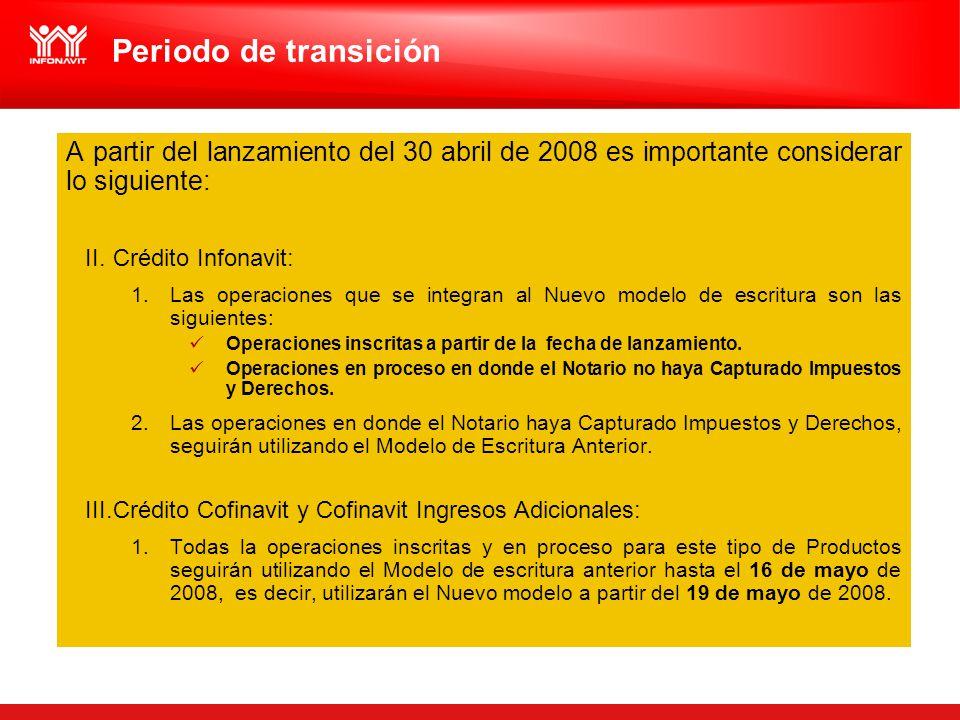A partir del lanzamiento del 30 abril de 2008 es importante considerar lo siguiente: II.Crédito Infonavit: 1.Las operaciones que se integran al Nuevo