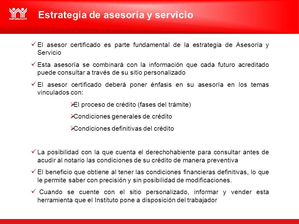 Estrategia de asesoría y servicio El asesor certificado es parte fundamental de la estrategia de Asesoría y Servicio Esta asesoría se combinará con la