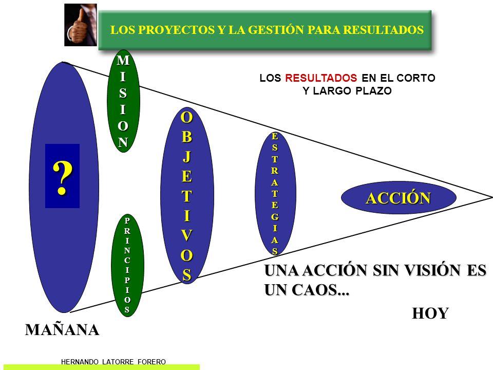 LOS PROYECTOS Y LA GESTIÓN PARA RESULTADOS VISION OBJETIVOS MISION PRINCIPIOS ESTRATEGIAS MAÑANA HOY ? UNA VISION SIN ACCIÓN ES UNA UTOPIA….. LOS RESU