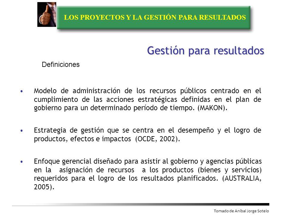 LOS PROYECTOS Y LA GESTIÓN PARA RESULTADOS Problemas de la Gestión Pública en Colombia Debilidad en los procesos de planificación Cultura deficiente en la generación y uso de la información Desarticulación de procesos de planificación, presupuesto, evaluación y rendición de cuentas Baja vinculación de ciudadanos y organizaciones sociales a la gestión pública Fuente: DNP