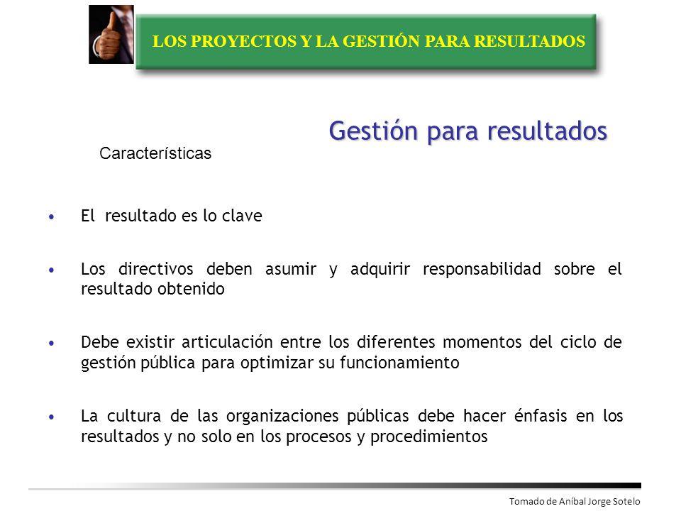 LOS PROYECTOS Y LA GESTIÓN PARA RESULTADOS Modelo de administración de los recursos públicos centrado en el cumplimiento de las acciones estratégicas