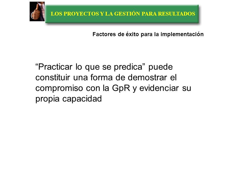 LOS PROYECTOS Y LA GESTIÓN PARA RESULTADOS Factores de éxito para la implementación de la GpR