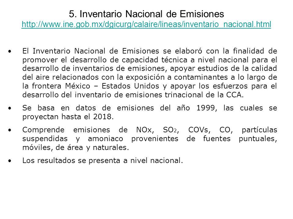 5. Inventario Nacional de Emisiones http://www.ine.gob.mx/dgicurg/calaire/lineas/inventario_nacional.html http://www.ine.gob.mx/dgicurg/calaire/lineas