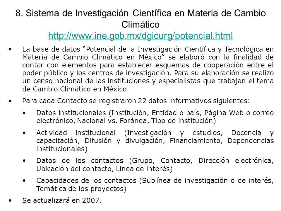 8. Sistema de Investigación Científica en Materia de Cambio Climático http://www.ine.gob.mx/dgicurg/potencial.html http://www.ine.gob.mx/dgicurg/poten