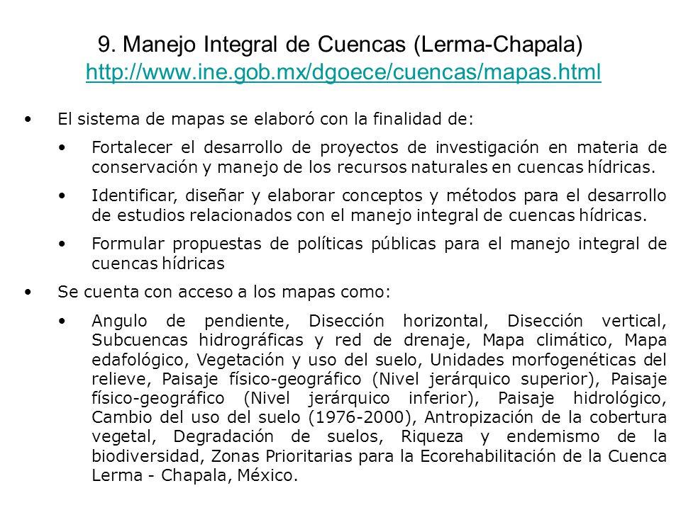 9. Manejo Integral de Cuencas (Lerma-Chapala) http://www.ine.gob.mx/dgoece/cuencas/mapas.htmlhttp://www.ine.gob.mx/dgoece/cuencas/mapas.html El sistem