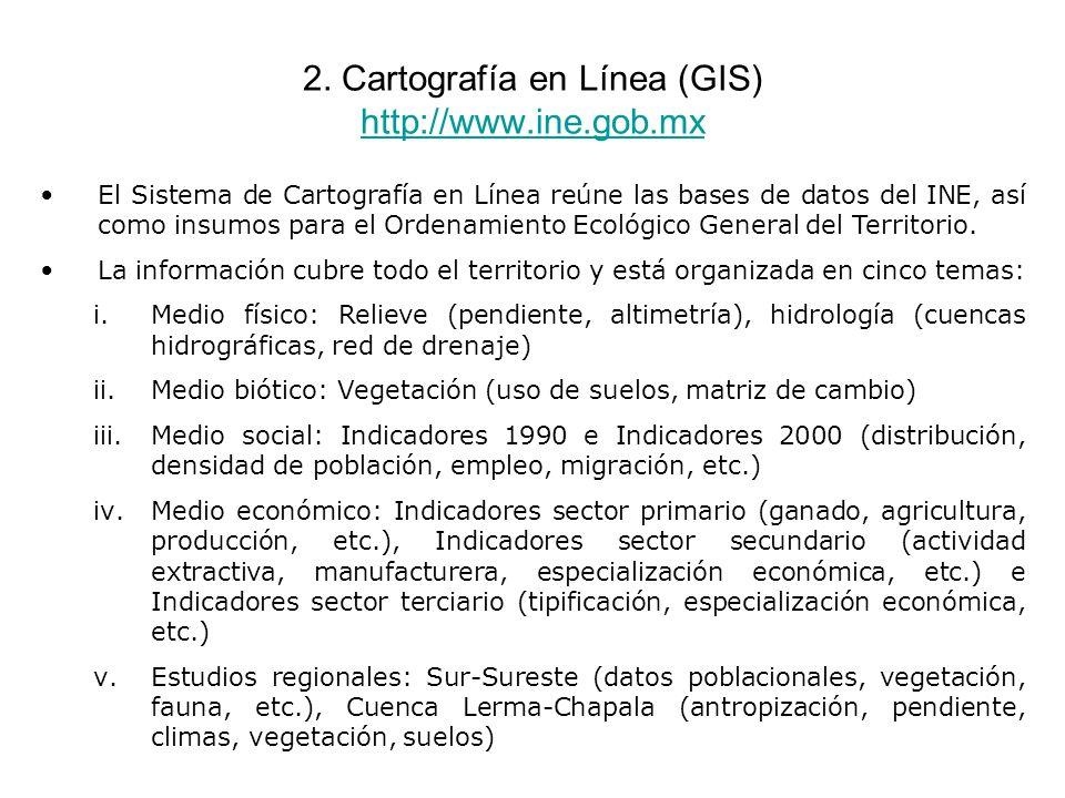 2. Cartografía en Línea (GIS) http://www.ine.gob.mx http://www.ine.gob.mx El Sistema de Cartografía en Línea reúne las bases de datos del INE, así com