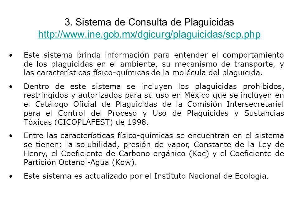 3. Sistema de Consulta de Plaguicidas http://www.ine.gob.mx/dgicurg/plaguicidas/scp.php http://www.ine.gob.mx/dgicurg/plaguicidas/scp.php Este sistema