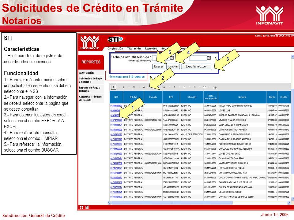 Subdirección General de Crédito Junio 15, 2006 STI Características :.- El número total de registros de acuerdo a lo seleccionado.