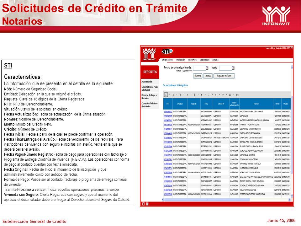 Subdirección General de Crédito Junio 15, 2006 STI Características : La información que se presenta en el detalle es la siguiente: NSS: Número de Seguridad Social.